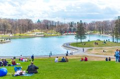 Beaver Lake - Mount Royal Park, Montreal, Quebec, Canad. Montreal, Canada - May 5, 2018: Beaver Lake - Mount Royal Park, Montreal, Quebec, Canada Lac des Castors stock image
