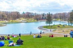 Beaver Lake - Mount Royal Park, Montreal, Quebec, Canad. Montreal, Canada - May 5, 2018: Beaver Lake - Mount Royal Park, Montreal, Quebec, Canada Lac des Castors stock image