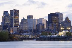 Montreal, Canada by night. This image was taken on Ile Ste-Helene and shows the beautiful Montreal skyline at sunset Stock Photos