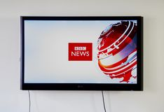 BBC News logo and app on LG TV. MONTREAL, CANADA - NOVEMBER 15, 2017: BBC News logo and app on LG TV. BBC News is an operational business division of the British Royalty Free Stock Photos