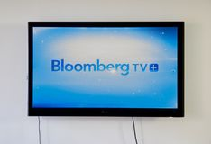Bloomberg TV app on LG TV screen. MONTREAL, CANADA - NOVEMBER 15, 2017: Bloomberg TV app on LG TV screen. Bloomberg delivers business and markets news, data Royalty Free Stock Photography