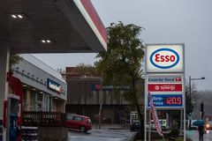 MONTREAL, CANADA - NOVEMBER 3, 2018: Esso logo in front of one of their gas stations in Canada. stock photos
