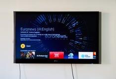Euronews app on LG TV screen Stock Photography