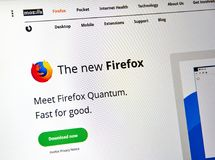 Firefox Quantum web page. Royalty Free Stock Image