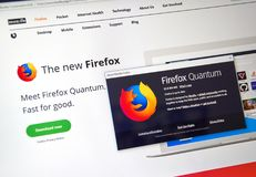 Firefox Quantum web page. Stock Image