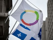 Organisation Internationale de la Francophonie flag next to the flag of Quebec in Montreal.