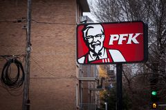 PFK Logo on a local restaurant in montreal. Poulet Frit Kentucky is the Quebec name of KFC