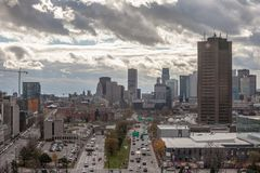 Skyline of Montreal CBD with the Maison Radio Canada CBC tower, and the highways of Avenue Viger and boulevard Ville Marie stock images