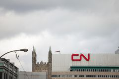 CN logo in front of their main office for Montreal, Quebec. Also known as Canadian National Railway stock image