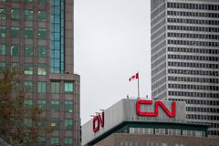 CN logo in front of their main office for Montreal, Quebec. Also known as Canadian National Railwa stock images