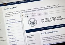 SEC home webpage. MONTREAL, CANADA - NOVEMBER 7, 2017: SEC official webpage. The U.S. Securities and Exchange Commission is an independent agency of the United Stock Image