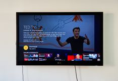 TED TV application on LG TV. MONTREAL, CANADA - NOVEMBER 15, 2017: TED TV application on LG TV. TED is a nonprofit devoted to spreading ideas, usually in the Stock Photography