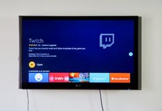 Twitch app and logo on LG TV Stock Photos