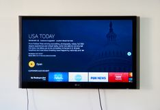 USA Today on LG TV. MONTREAL, CANADA - NOVEMBER 15, 2017: USA Today on LG TV. USA Today is an internationally distributed American daily newspaper that serves as Royalty Free Stock Photography