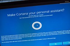 MONTREAL, CANADA - NOVEMBER 8, 2018: Windows Cortana, personal assistant on a PC screen. Microsoft is an American multinational. Technology company royalty free stock images