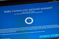 MONTREAL, CANADA - NOVEMBER 8, 2018: Windows Cortana, personal assistant on a PC screen. Microsoft is an American multinational. Technology company royalty free stock photos