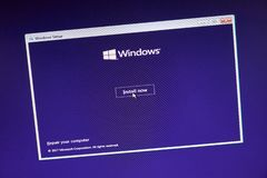 MONTREAL, CANADA - NOVEMBER 8, 2018: Windows Operating System installation process on a laptop screen. Microsoft is an American royalty free stock photo