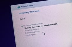 MONTREAL, CANADA - NOVEMBER 8, 2018: Windows OS installation and activation process on a PC display. Microsoft is an American stock images