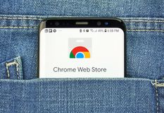 Chrome Web Store on a phone screen in a pocket royalty free stock photo