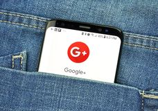 Google Plus on a phone screen in a pocket. MONTREAL, CANADA - OCTOBER 4, 2018: Google Plus app on s8 screen. Google Plus is a social network. Google is an stock image