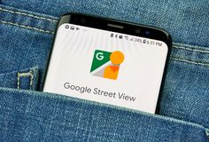 MONTREAL, CANADA - OCTOBER 4, 2018: Google Street view app on s8 screen. Google is an American technology company which provides a. Variety of internet services royalty free stock photos