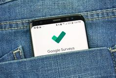 MONTREAL, CANADA - OCTOBER 4, 2018: Google Surveys app on s8 screen. Google is an American technology company which provides a royalty free stock photography