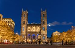 Montreal, Canada, October 20, 2018. Notre Dame Basilica from Mon royalty free stock images