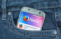Firefox mobile application on screen of Samsung stock photos