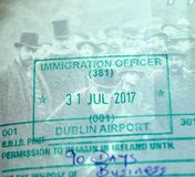 Immigration Officer stamp in Canadian passport stock photos