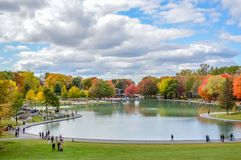Lake in the Mount-Royal and people royalty free stock images