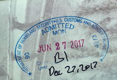 USA Homeland Security Admitted stamp. MONTREAL, CANADA - SEPTEMBER 8, 2018: USA Homeland Security Admitted stamp in Canadian passport royalty free stock images