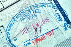 USA Homeland Security Admitted stamp. MONTREAL, CANADA - SEPTEMBER 8, 2018: USA Homeland Security Admitted stamp in Canadian passport royalty free stock photography