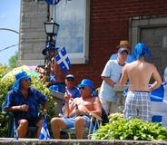 Unidentified people celebrating Quebec`s National Holiday Royalty Free Stock Photo