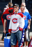 Montreal Canadians fan. MONTREAL- CANADA MAY 19: Montreal Canadians fan on may 19 2014, Montreal Canada The Canadiens have won the Stanley Cup more times than Stock Image