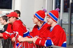 Montreal Canadians fans. MONTREAL- CANADA-APRIL 15: Montreal Canadians fans before 3th match again Boston Bruins on April 15 2008, Montreal Canada, Montreal won Royalty Free Stock Images