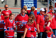 Montreal Canadians fans. MONTREAL- CANADA-APRIL 15: Montreal Canadians fans before 3th match again Boston Bruins on April 15 2008, Montreal Canada, Montreal won Royalty Free Stock Photo