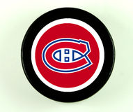 Montreal Canadiens hockey puck royalty free stock images
