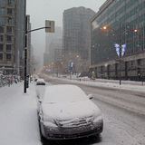 Montreal Cars Winter. A street with cars covered by snow. Photo taken early in the morning in Montreal by a beautiful winter storm royalty free stock photos