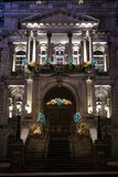 Montreal City Hall. Close-up of the front door of the Montreal City Hall during the holidays royalty free stock images