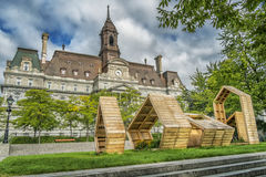 Montreal City Hall. The five-story Montreal City Hall French: Hôtel de Ville de Montréal is the work of architects Henri-Maurice Perrault and Alexander stock image