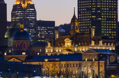 Marche Bonsecours and Montreal City Hall at dusk. Royalty Free Stock Photo