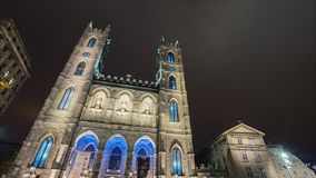 Timelapse video of Montreal city near the Notre Dame Cathedral by night