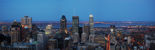 Montreal City panorama. At dust viewed from Parc Mont-Royal, Montreal, Canada Stock Images