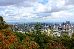 Montreal City Panorama from Mt Royal Royalty Free Stock Images