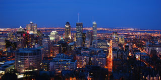 Montreal city panorama at night Stock Photos