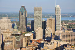Montreal City Skyline. From Parc Mont-Royal (Mont-Royal Park), Quebec, Canada stock photo