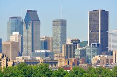 Montreal city skyline in summer, Quebec, Canada. Montreal city skyline in financial district in summer, Montreal, Quebec, Canada stock images