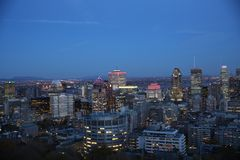 Montreal city skyline at night royalty free stock photos