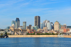 Montreal city skyline over river. In the day with urban buildings stock images