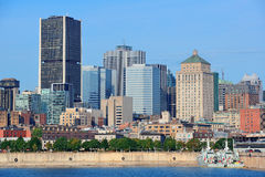 Montreal city skyline over river stock photo